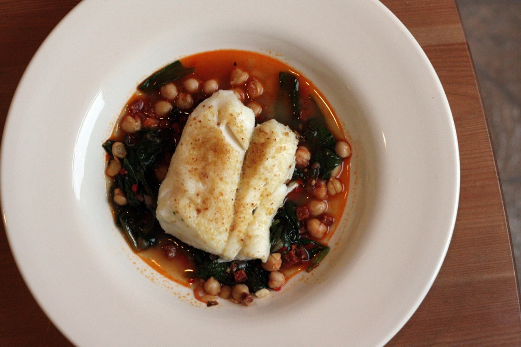Broiled Cod with Chickpea-Chorizo-Spinach Stew