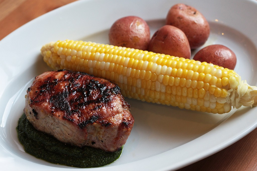 Grilled Pork Chop with Mint-Parsley Salsa Verde