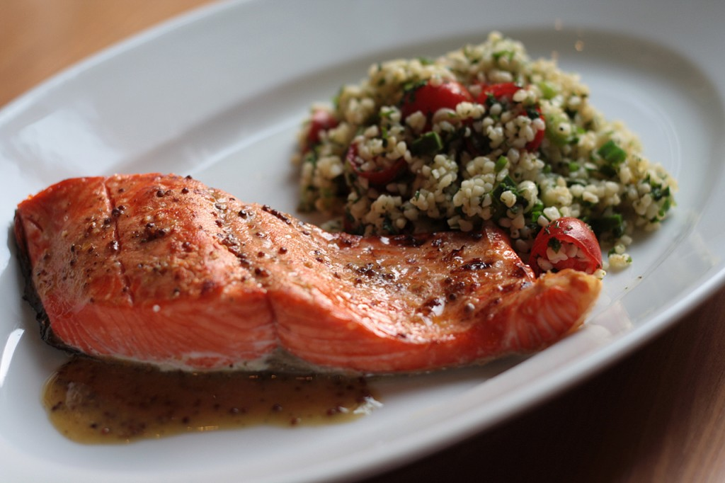 Salmon with Double Mustard Vinaigrette and Tabbouleh