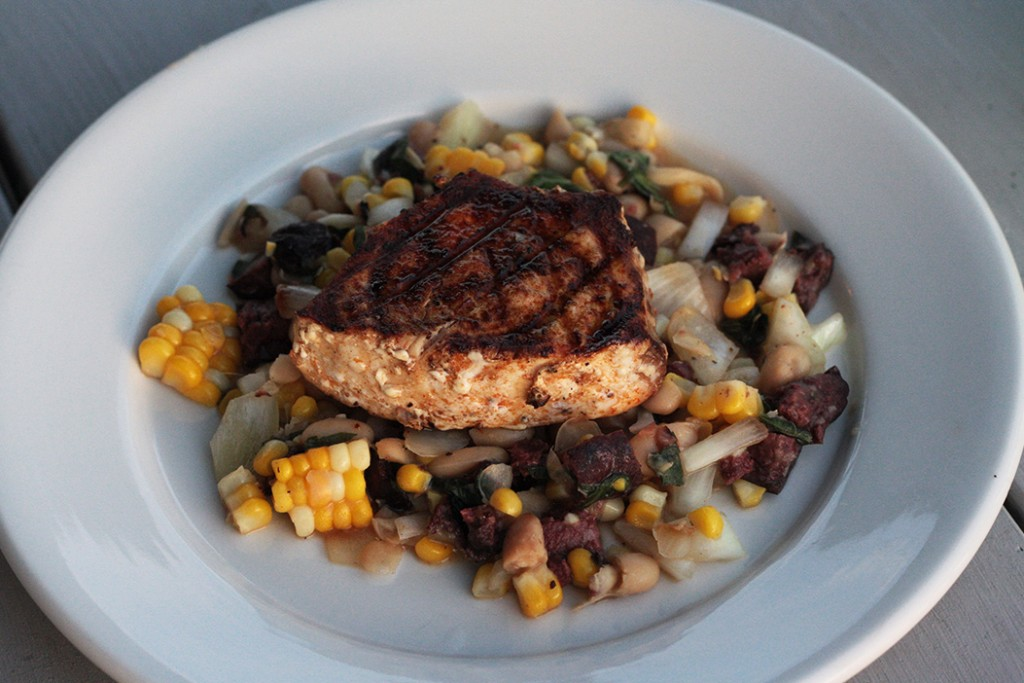 Grilled Swordfish with White Beans, Morcilla, Corn, and Onions
