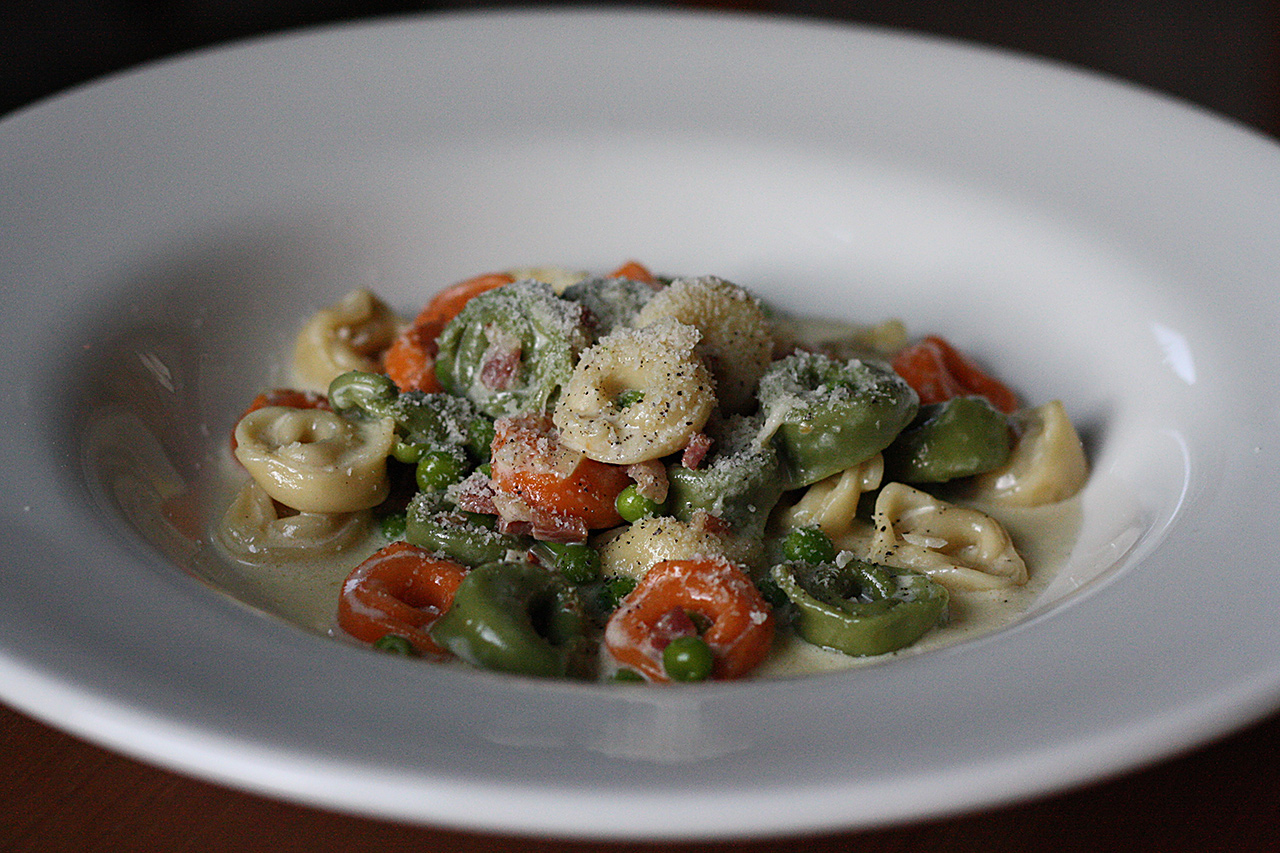 Tortellini with Pancetta, Peas, and Cream sauce