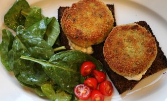 Salt Cod Fish Cakes with tartar sauce, pumpernickel toast, and simple spinach salad
